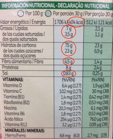 informacion nutricional special k kellogs