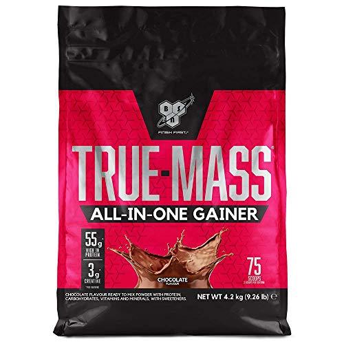 BSN True Mass All In One Gainer, Proteínas para Aumentar Masa Muscular con Creatina Monohidratada, Glutamina, Vitamina D y Zinc, Chocolate, 25 Porciones, 4.2 kg