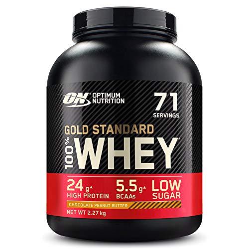 Optimum Nutrition Gold Standard 100% Whey Proteína en Polvo, Glutamina y Aminoácidos Naturales, BCAA, Chocolate Mantequilla de Cacahuete, 71 Porciones, 2.27kg, Embalaje Puede Variar