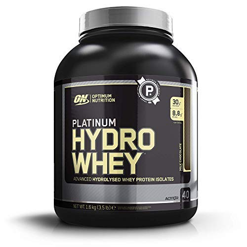 Optimum Nutrition Platinum Hydro Whey, Proteinas Whey en Polvo, Proteina de Suero para Masa Muscular y Musculacion, Fuente de BCAA, Bajo en Calorías, Chocolate, 40 Porciones, 1,6 kg