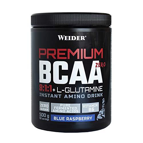 Weider Premium BCAA 811+L-Gluamina Sabor Blue Raspberry 500g. Con Vitamina B6. Sin azúcar